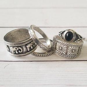 2/$25 ♡ Silver Elephant Aztec Ring Set NWOT